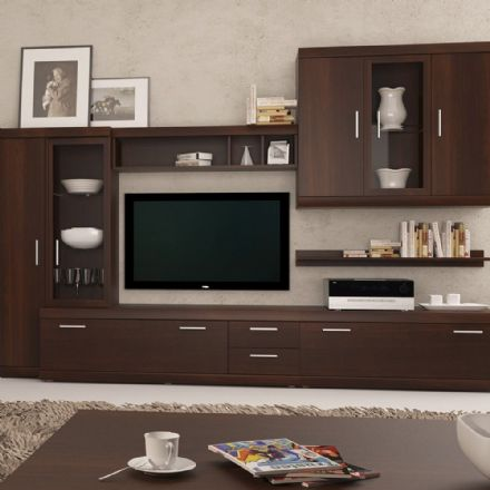 Imperial Complete Living Fitment in Dark Mahogany Melamine.